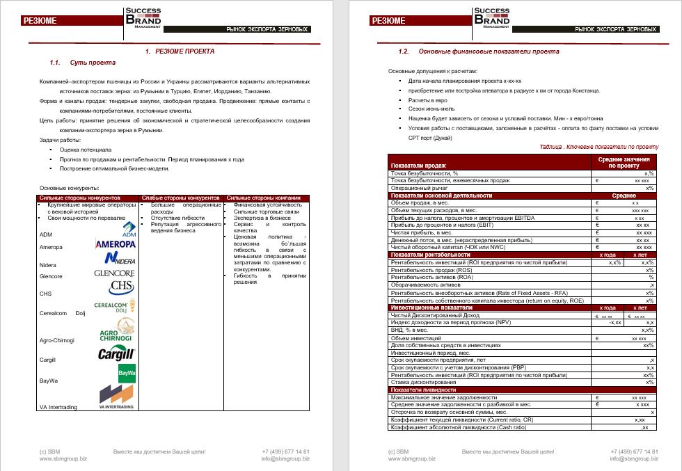 Бизнес-план создания компании-экспортера зерна